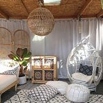 White Rattan Chair, White Curtain, Rattan Sofa Bed With White Cushion, White Patterned Rug, Ottomans