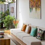 Wooden Board, White Cushion, Wooden Coffee Table, White Floor, White Wall