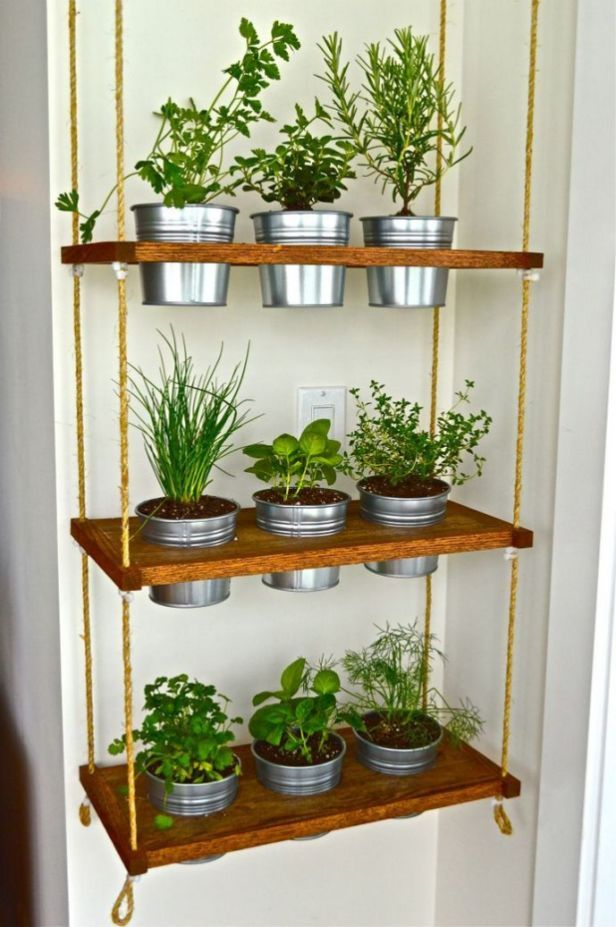 wooden boards hsleves with holes for plants pots