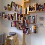 Wooden Bookshelves In Brown, White Wall, Shaped Like Tree