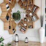 Wooden Bookshelves, Movable Boxes, Corner