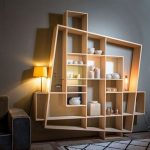 Wooden Bookshelves With Unique Frame