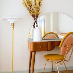 Wooden Desk With Curve, Half Round Mirror, Yellow Chair