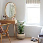 Wooden Desk, Wooden Chair, Round Mirror