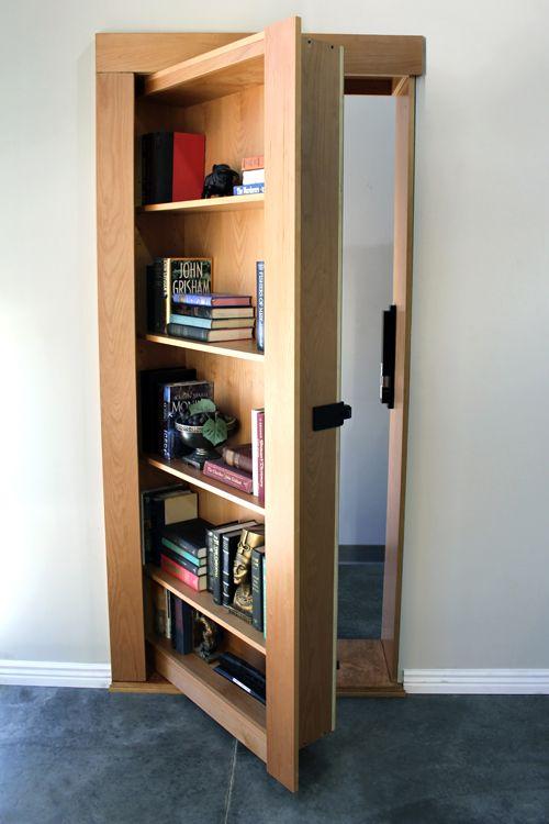 wooden door, bookshelves on the back