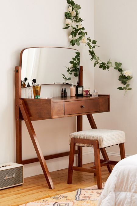 wooden make up desk, with drawer, movable mirror, wooden stool with white cushion