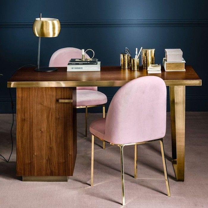 wooden study desk, golden lines, golden table lamp, pink modern chair, brown floor tiles