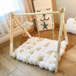 Wooden Tent With Pompons Cushion, Wooden Floor, Rattan Rug